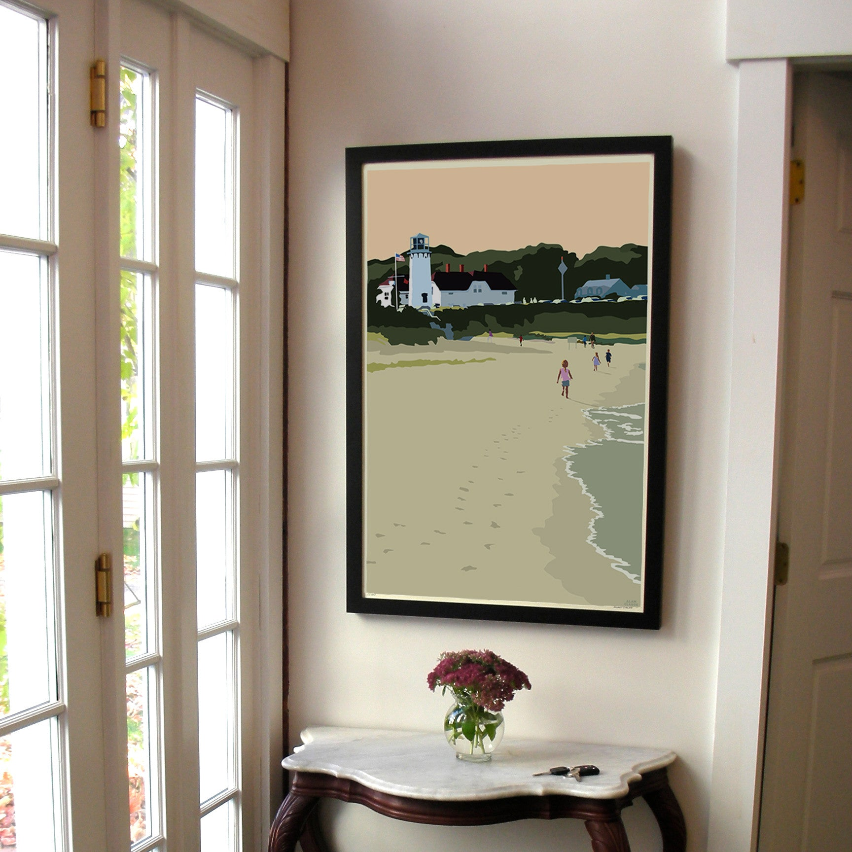 "Chatham Lighthouse Kids Art Print 24"" x 36"" Framed Wall Poster - Massachusetts"