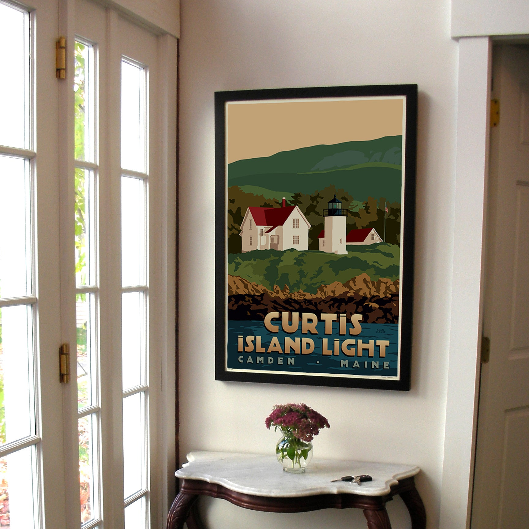 "Curtis Island Light Art Print 24"" x 36"" Framed Travel Poster - Maine"
