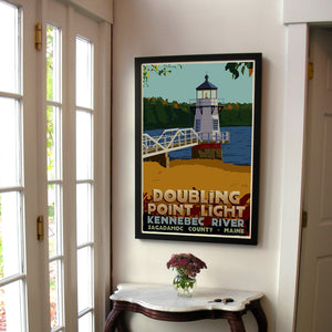 "Doubling Point Light Art Print 24"" x 36"" Framed Travel Poster - Maine"