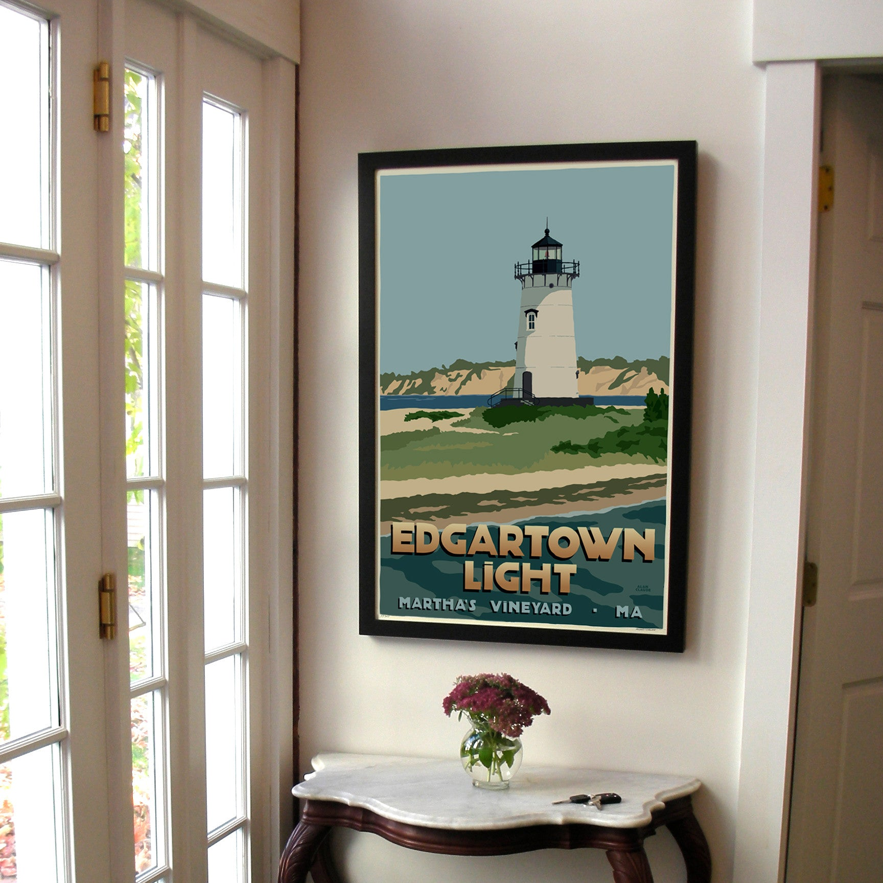 "Edgartown Light Art Print 24"" x 36"" Framed Travel Poster - Massachusetts"