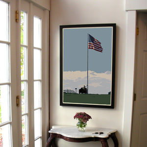 "Flag at Fort Williams Art Print 24"" x 36"" Framed Wall Poster - Maine"