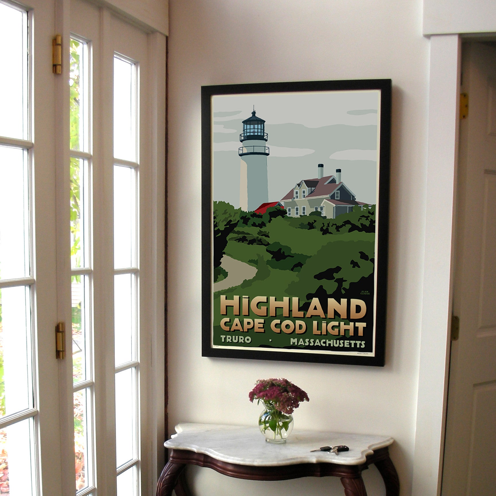 "Highland Light Art Print 24"" x 36"" Framed Travel Poster - Massachusetts"