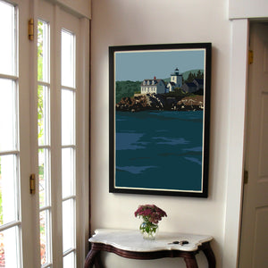 "Indian Island Light Art Print 24"" x 36"" Framed Wall Poster - Maine"