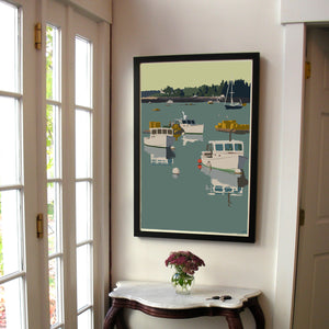 "Lobster Boats on a Sunday Morning Art Print 24"" x 36"" Framed Wall Poster - Maine"