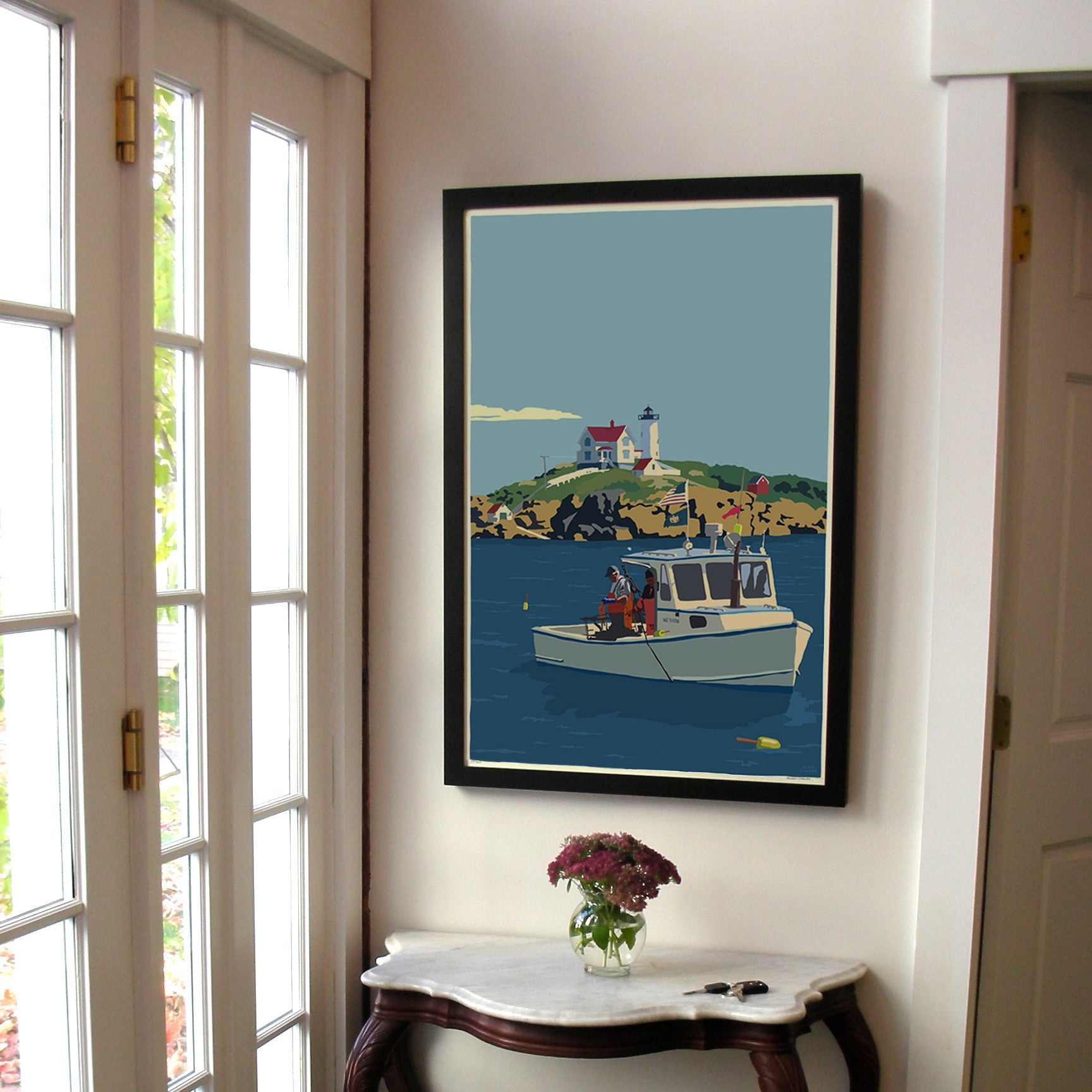 "Lobstering at the Nubble Art Print 24"" x 36"" Framed Wall Poster - Maine"