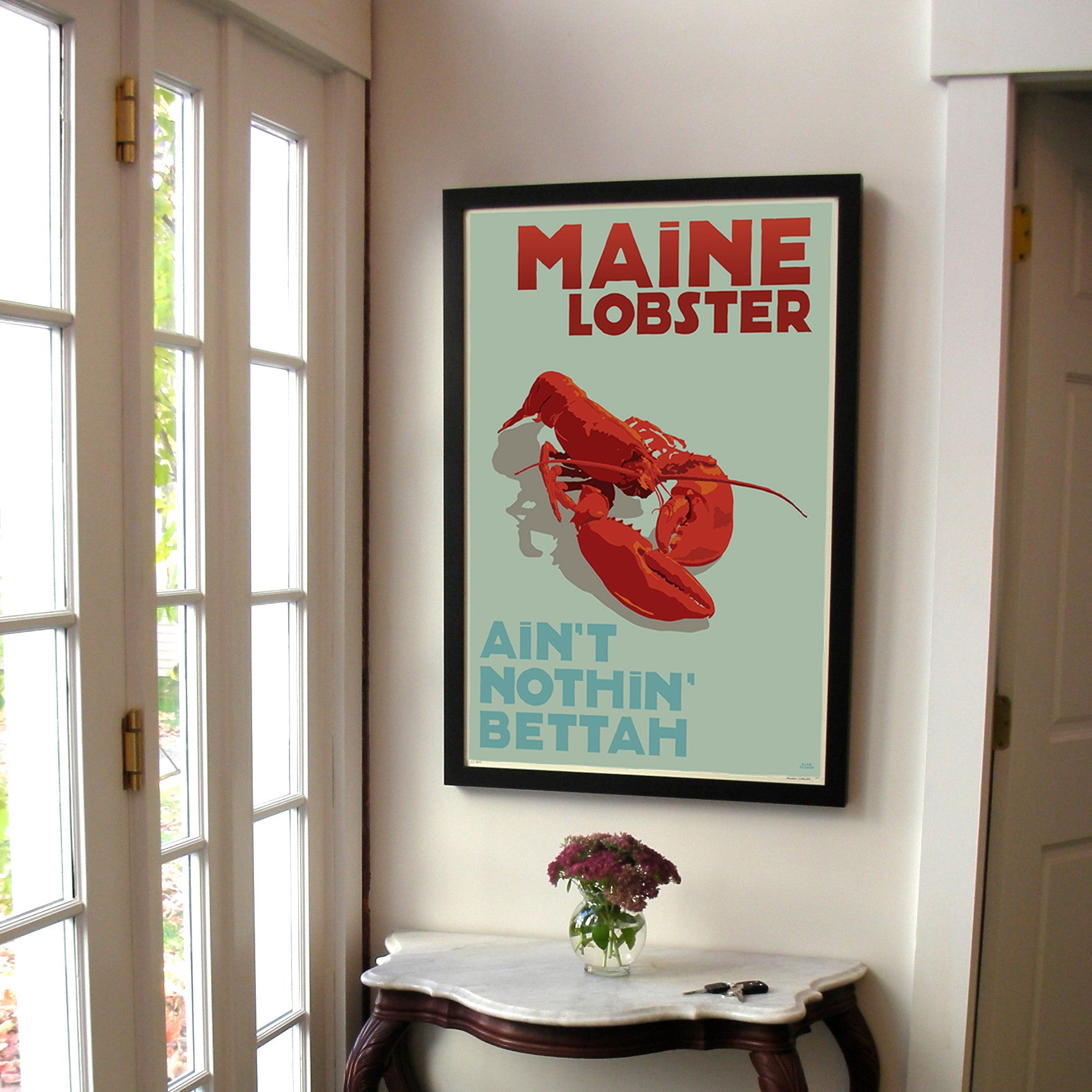 "Maine Lobster Art Print 24"" x 36"" Framed Travel Poster - Maine"