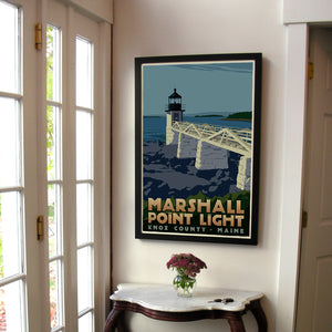 "Marshall Point Light Art Print 24"" x 36"" Framed Travel Poster - Maine"