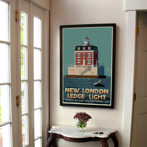 "New London Ledge Light Art Print 24"" x 36"" Framed Travel Poster - Connecticut"
