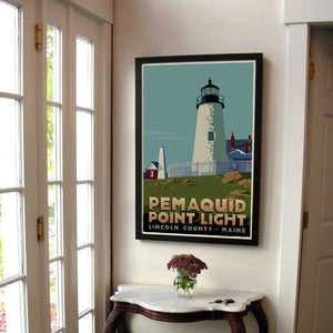 "Pemaquid Point Light Art Print 24"" x 36"" Framed Travel Poster - Maine"