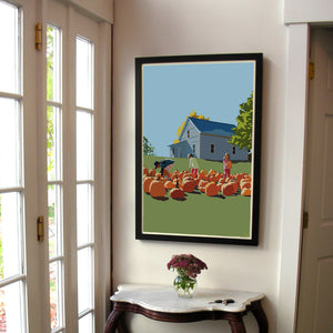 "Fall Pumpkin Kids Art Print 24"" x 36"" Framed Wall Poster - Maine"