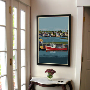 "Red Lobster Boat Art Print 24"" x 36"" Framed Wall Poster - New Hampshire"