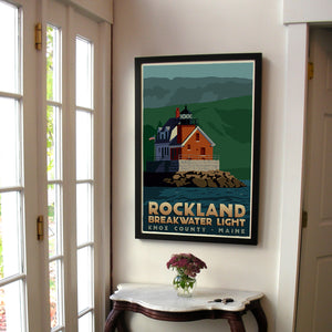 "Rockland Breakwater Light Art Print 24"" x 36"" Framed Travel Poster - Maine"