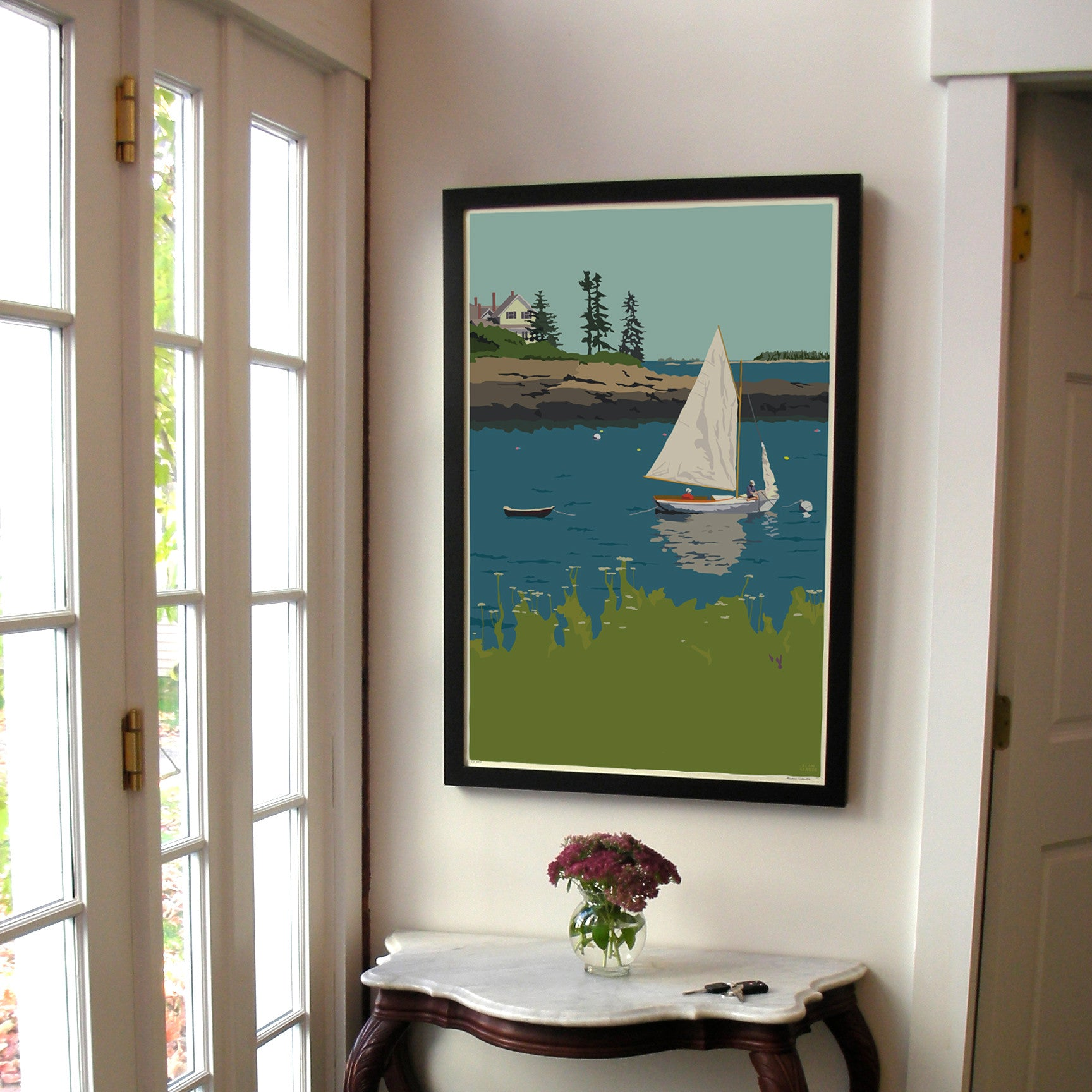 "Sailing Long Cove Art Print 24"" x 36"" Framed Wall Poster - Maine"