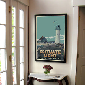 "Scituate Light Art Print 24"" x 36"" Framed Travel Poster - Massachusetts"
