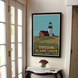 "Seguin Island Light Art Print 24"" x 36"" Framed Travel Poster - Maine"