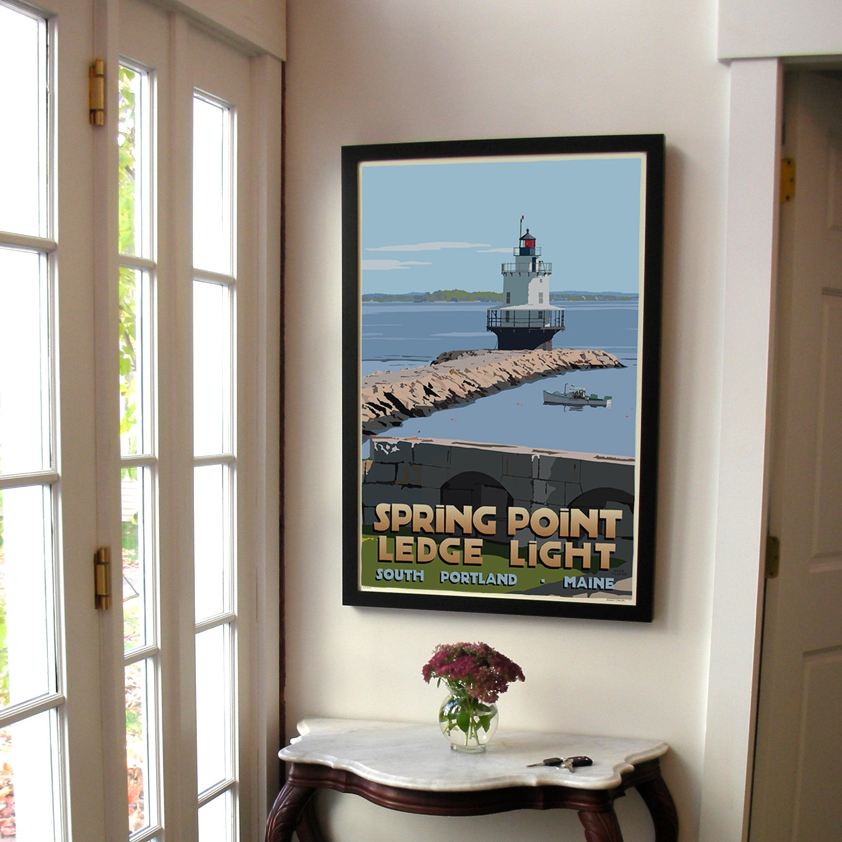 "Spring Point Ledge Light Art Print 24"" x 36"" Framed Travel Poster - Maine"