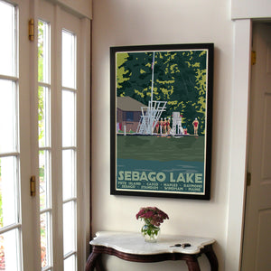 "Sebago Lake Swimmers Art Print 24"" x 36"" Framed Travel Poster - Maine"
