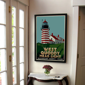 "West Quoddy Head Light Art Print 24"" x 36"" Framed Travel Poster - Maine"