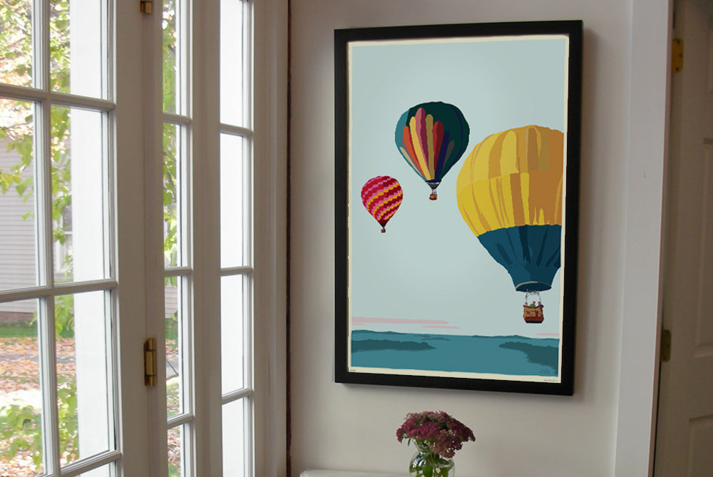"Balloons Over Islands Art Print 24"" x 36"" Framed Travel Poster - Maine by Alan Claude"