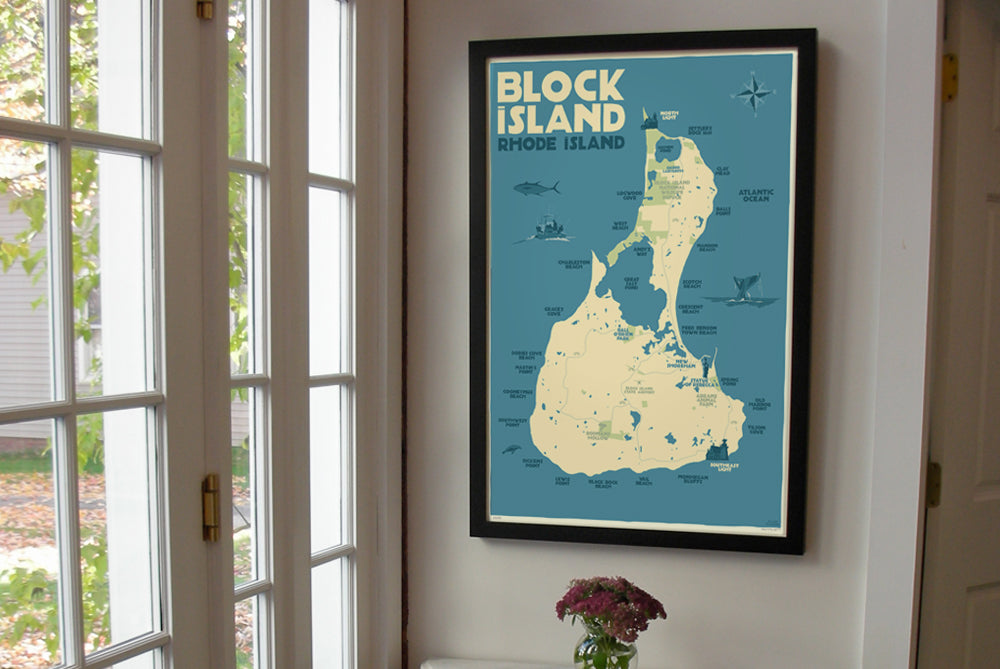 "Block Island Map Art Print 24"" x 36"" Framed Wall Poster - Rhode Island"