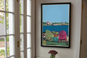 "Chairs Overlooking Ram Island Art Print 24"" x 36"" Framed Wall Poster - Maine by Alan Claude"