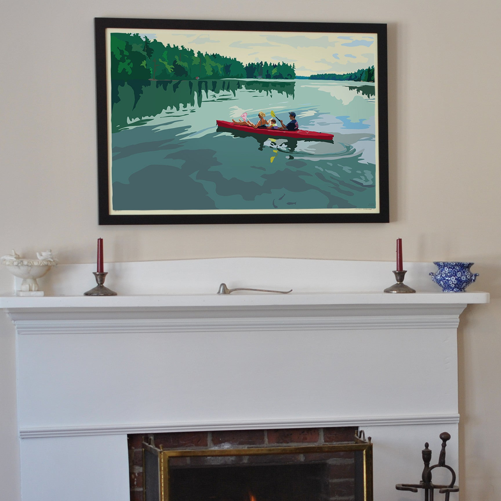 "Kayaking On A Lake Art Print 24"" x 36"" Framed Travel Poster - Maine"