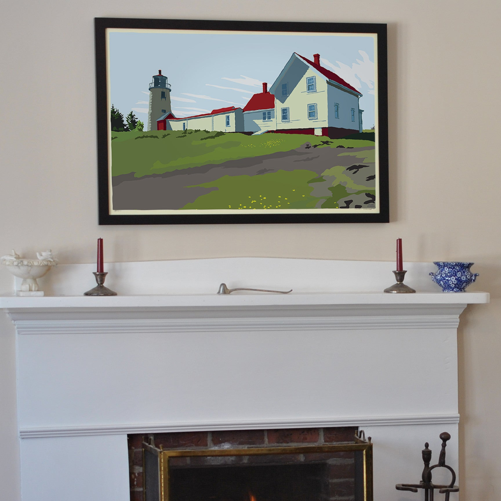 "Monhegan Light Art Print 24"" x 36"" Framed Travel Poster - Maine"