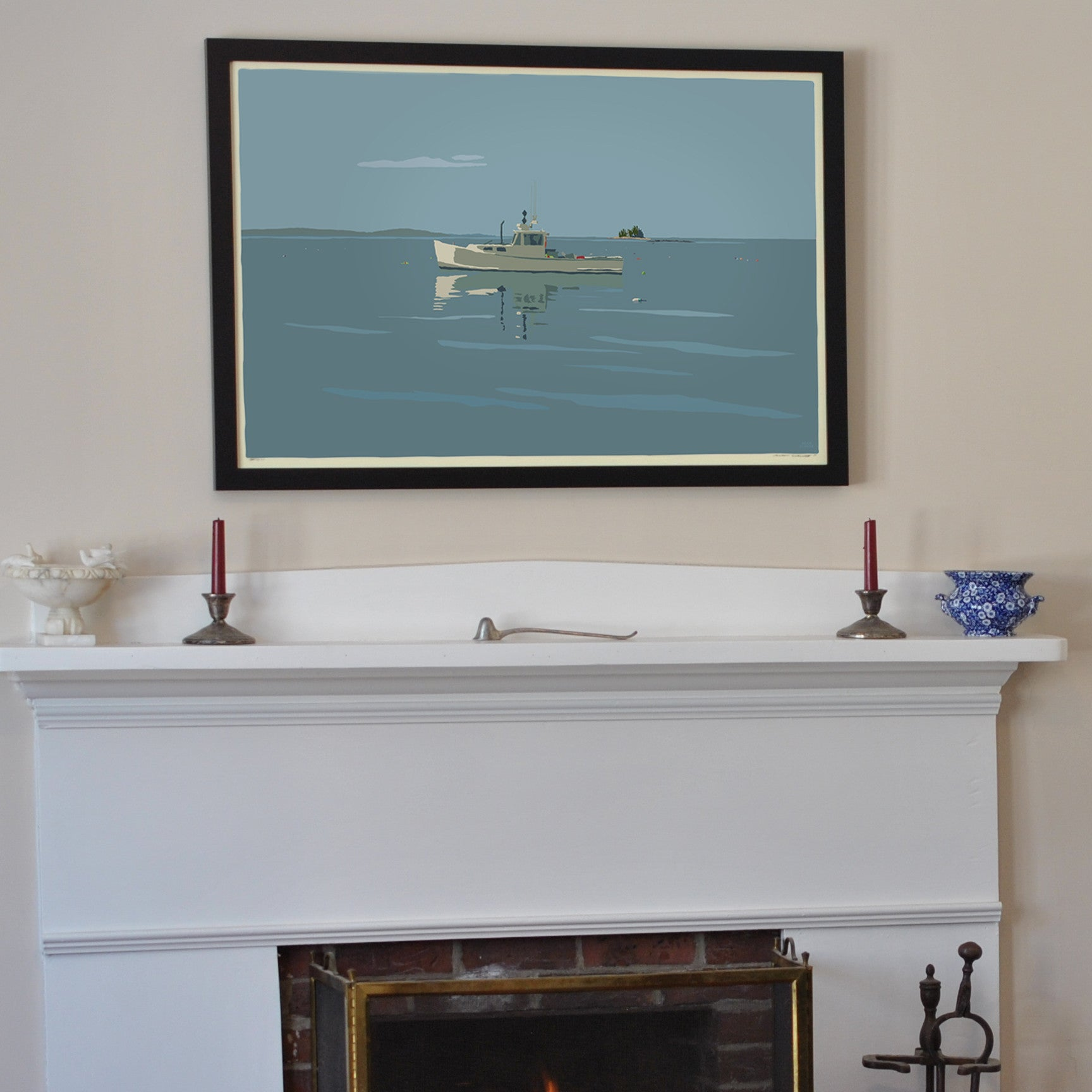 "Tranquility Lobster Boat Art Print 24"" x 36"" Framed Travel Poster - Maine"