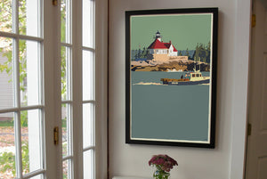 "Lobstering At The Cuckolds Light Art Print 24"" x 36"" Framed Wall Poster - Maine"