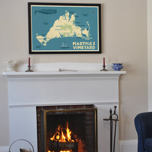 "Martha's Vineyard Map Art Print 24"" x 36"" Framed Travel Poster - Massachusetts"