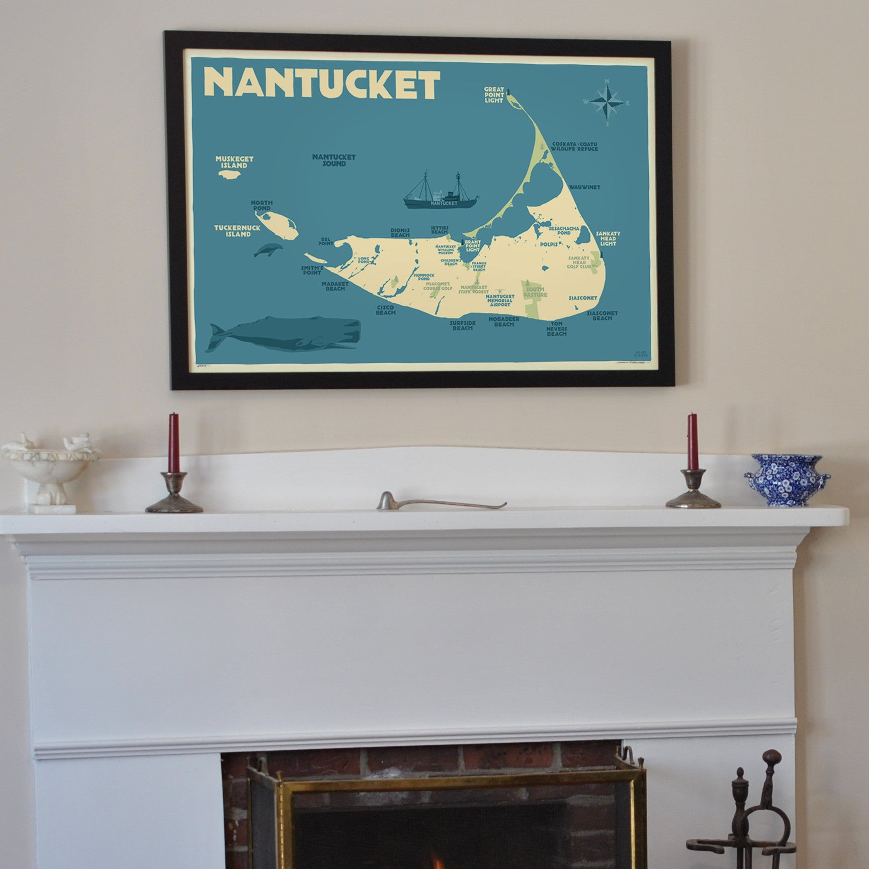 "Nantucket Map Art Print 24"" x 36"" Framed Travel Poster - Massachusetts"