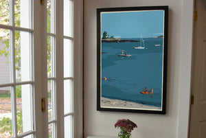 "Ocean Point Swimmers Art Print 24"" x 36"" Framed Wall Poster - Maine by Alan Claude"
