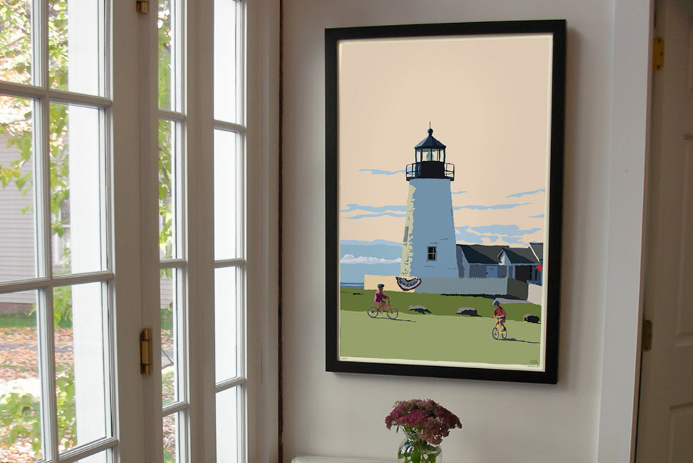 "Pemaquid Bicycle Girls Art Print 24"" x 36"" Framed Wall Poster - Maine"