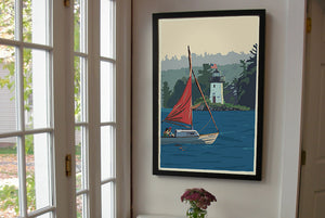 "Sailing Ladies Delight Art Print 24"" x 36"" Framed Wall Poster - Maine by Alan Claude"