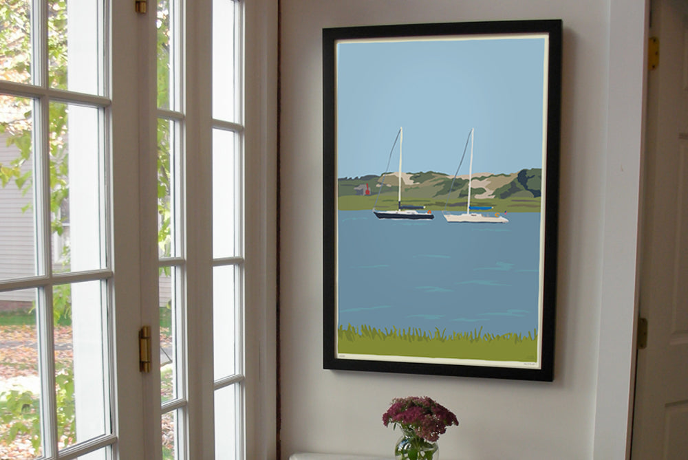 "Sailboats at Sandy Neck Art Print 24"" x 36"" Framed Wall Poster - Cape Cod Massachusetts"