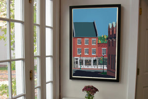 "Cafe in Gardiner Art Print 24"" x 36"" Framed Wall Poster By Alan Claude"