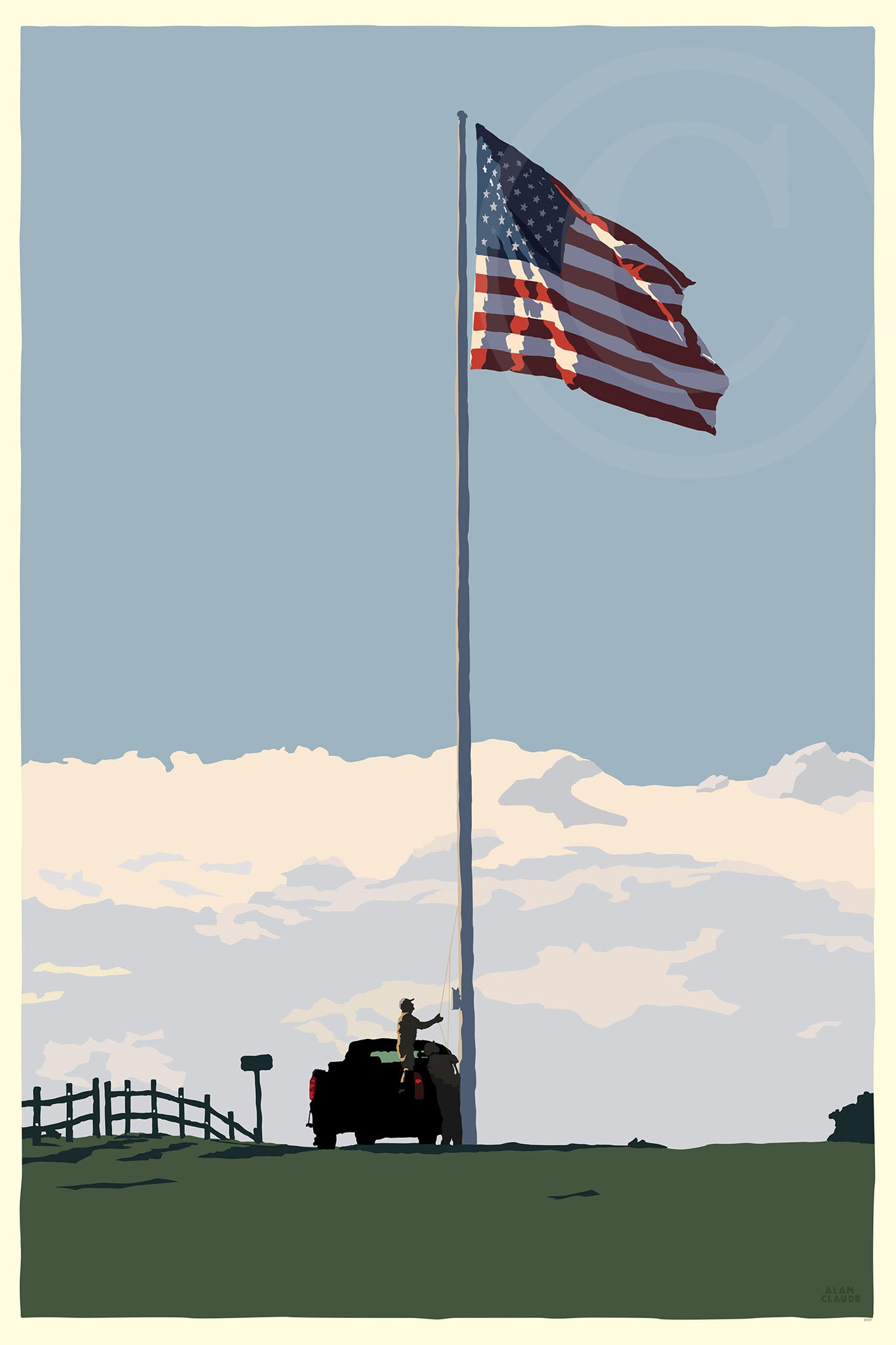 "Flag at Fort Williams Art Print 24"" x 36"" Wall Poster - Maine"