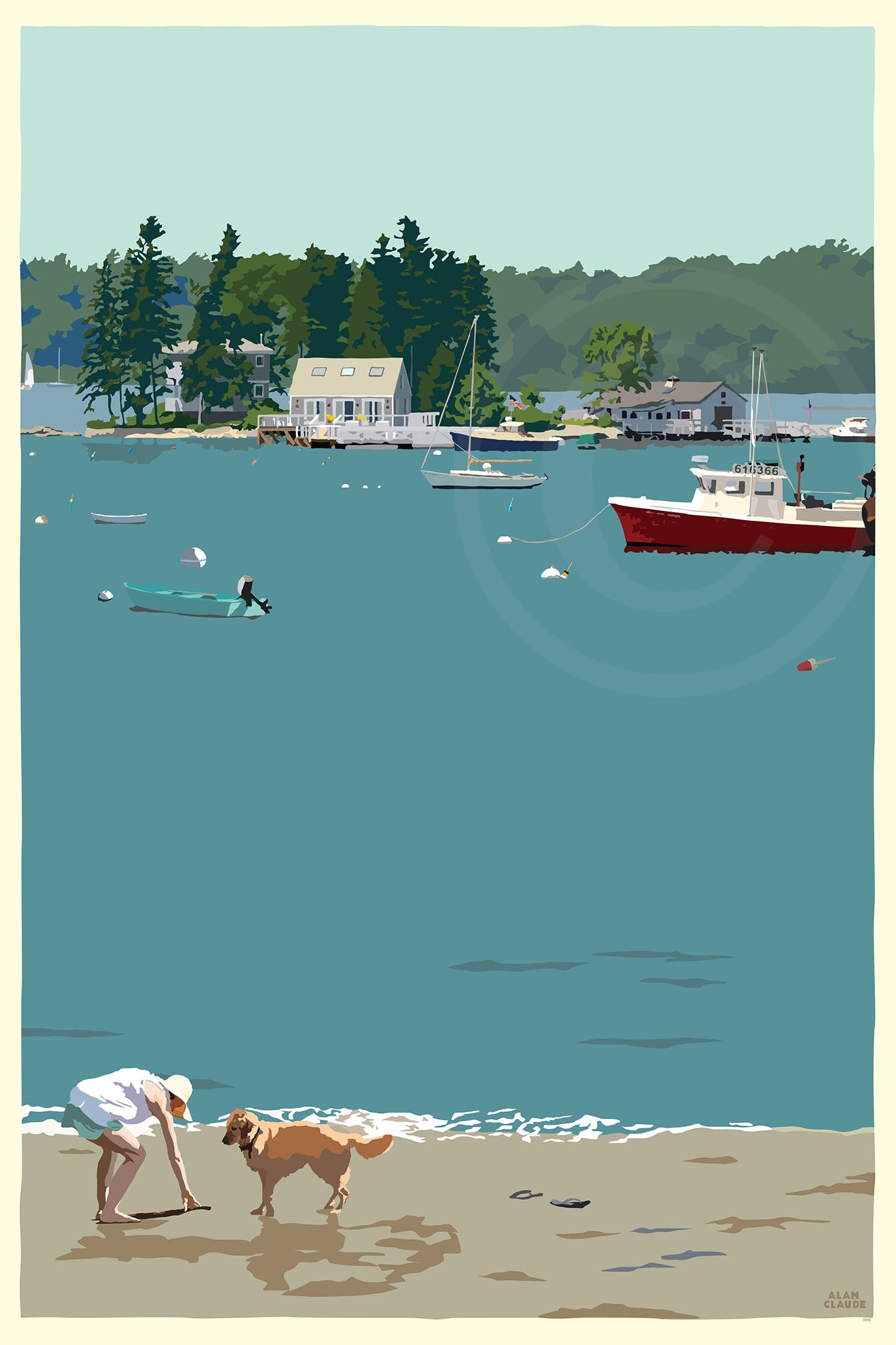 "Golden Retriever at Beach ""Go Fetch"" Art Print 24"" x 36"" Wall Poster - Maine"