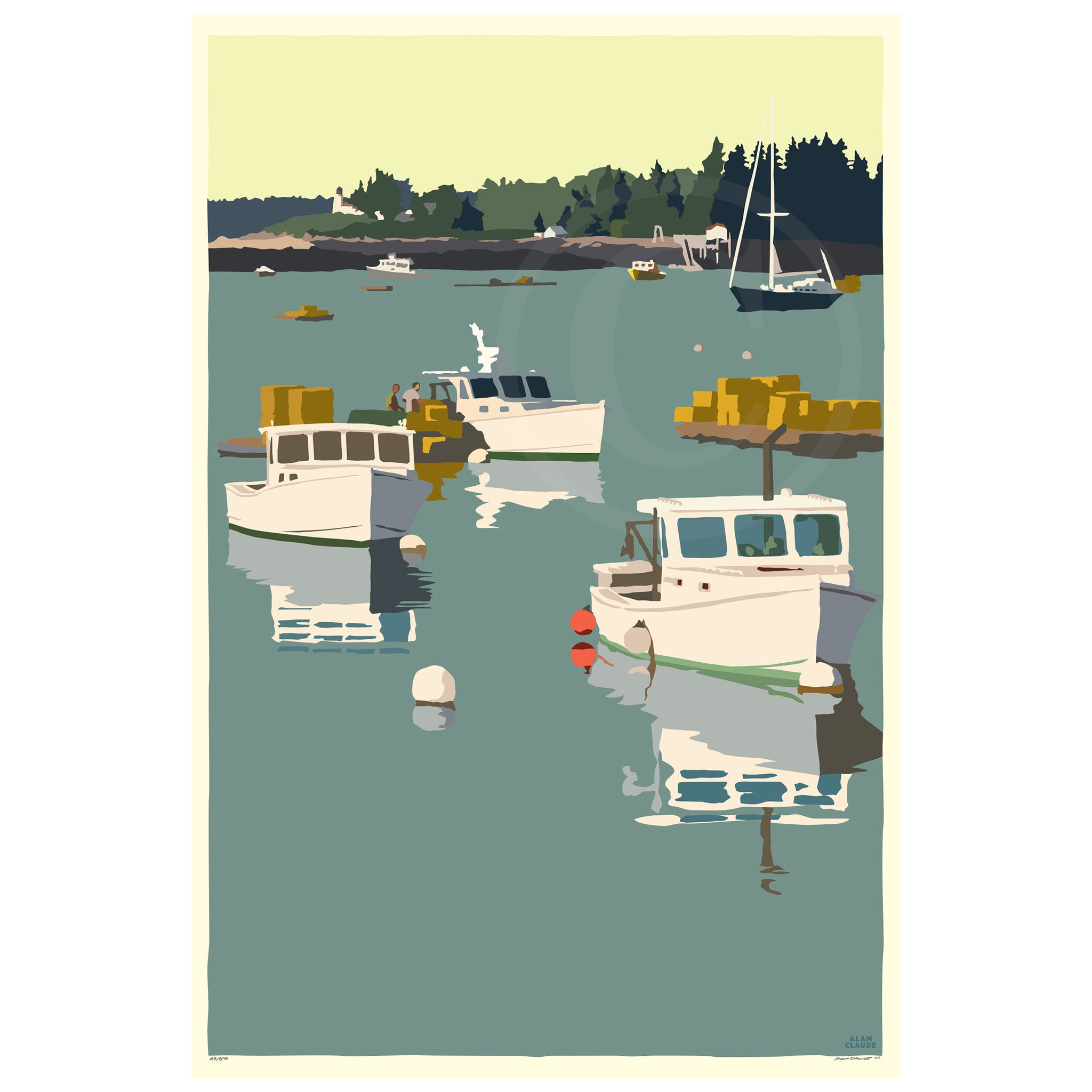 "Lobster Boats on a Sunday Morning Art Print 36"" x 53"" Wall Poster - Maine"