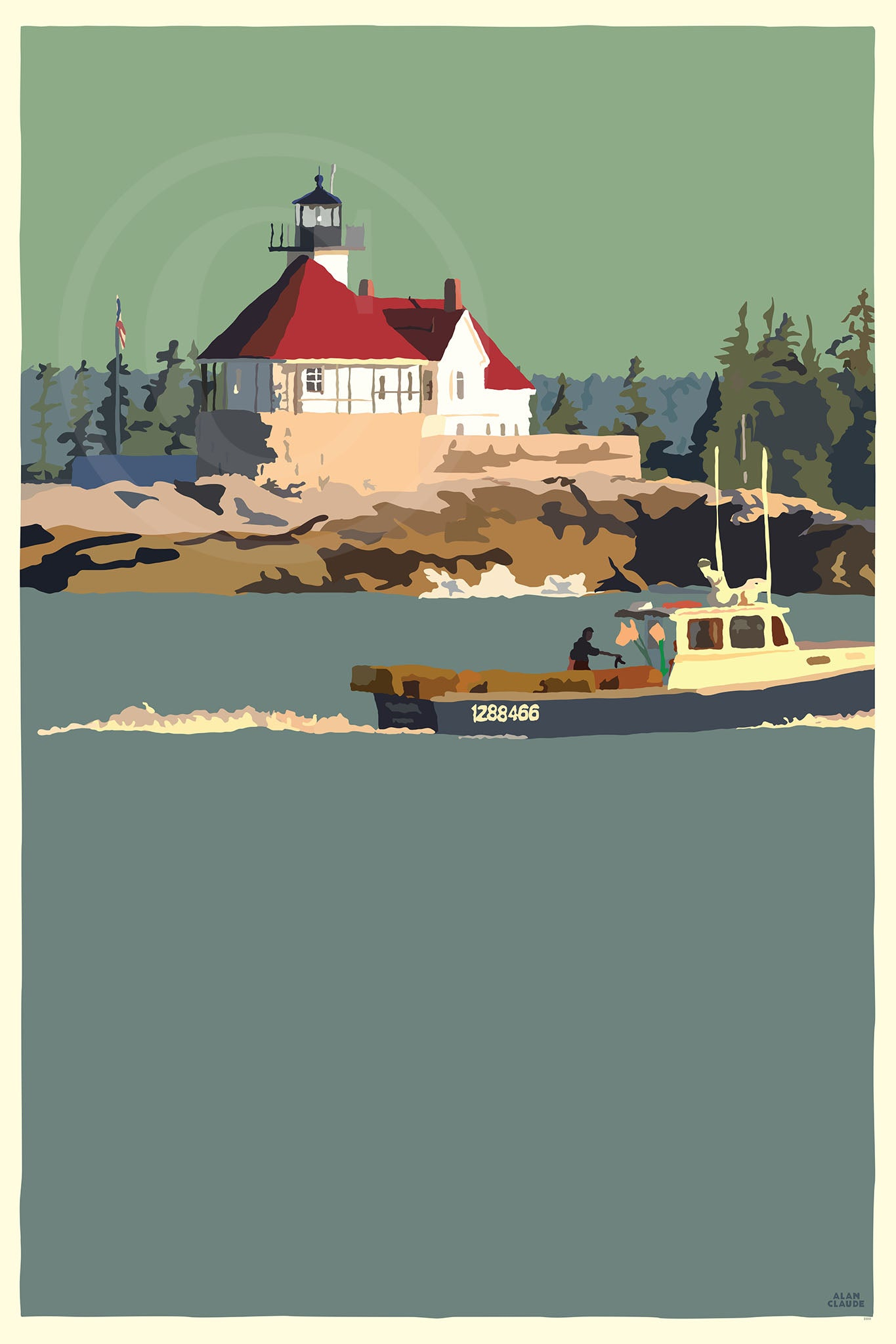 "Lobstering At The Cuckolds Light  Art Print 36"" x 53"" Wall Poster - Maine"
