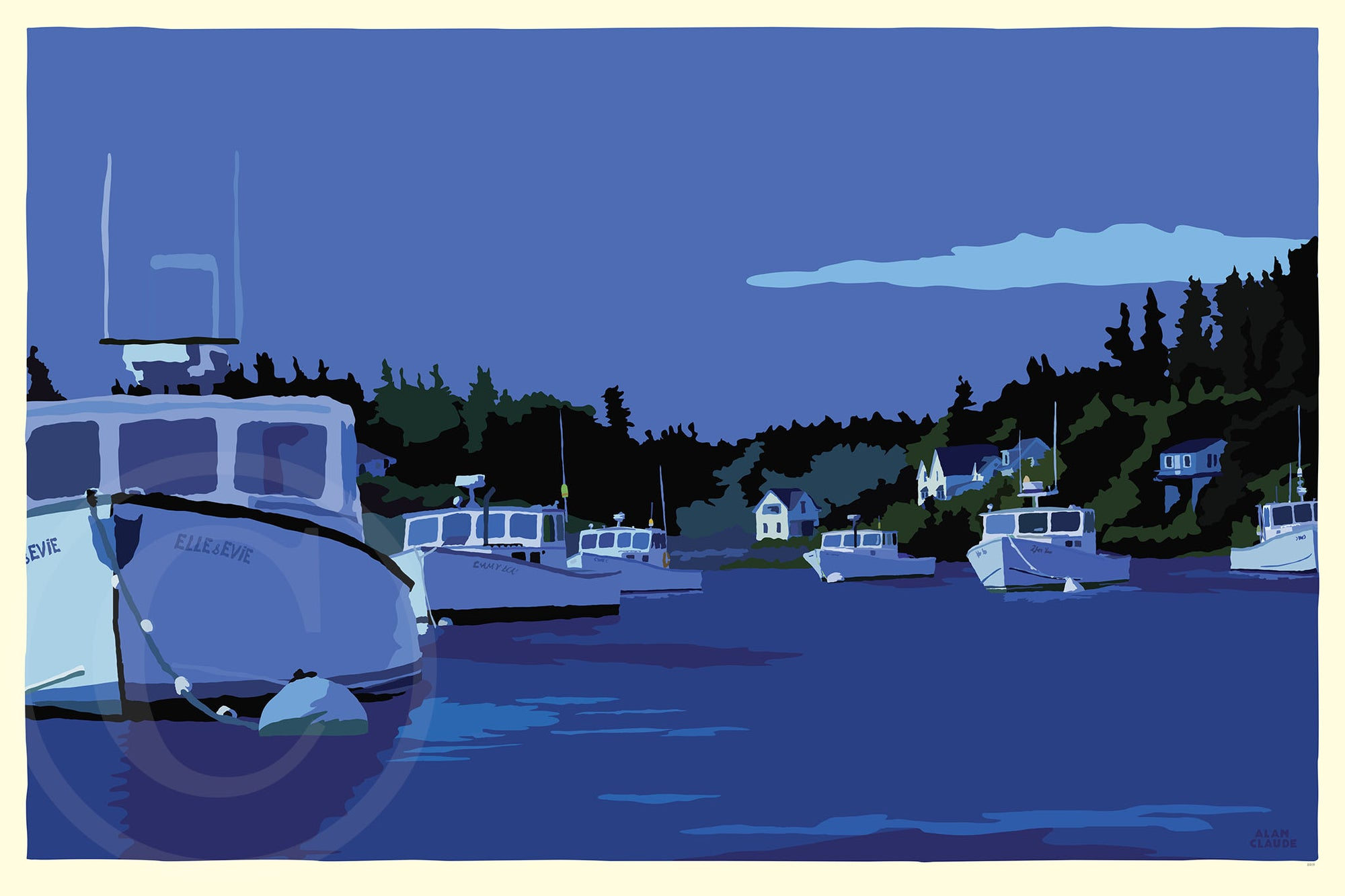 "Moonlight Over Port Clyde Art Print 24"" x 36"" Wall Poster - Maine by Alan Claude"