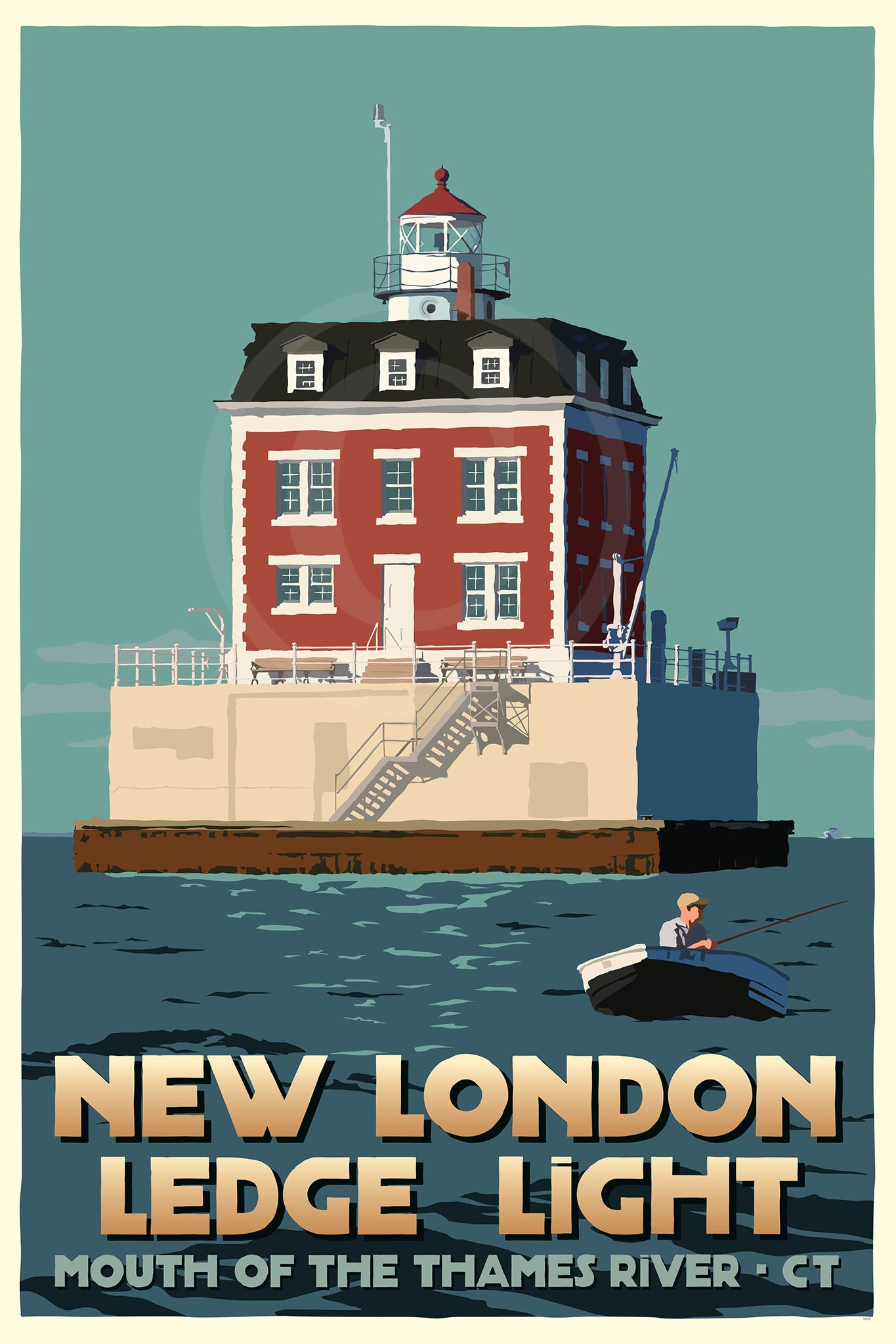 "New London Ledge Light Art Print 24"" x 36"" Travel Poster - Connecticut"