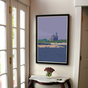 "Block Island North Light Art Print 24"" x 36"" Framed Travel Poster - Rhode Island"