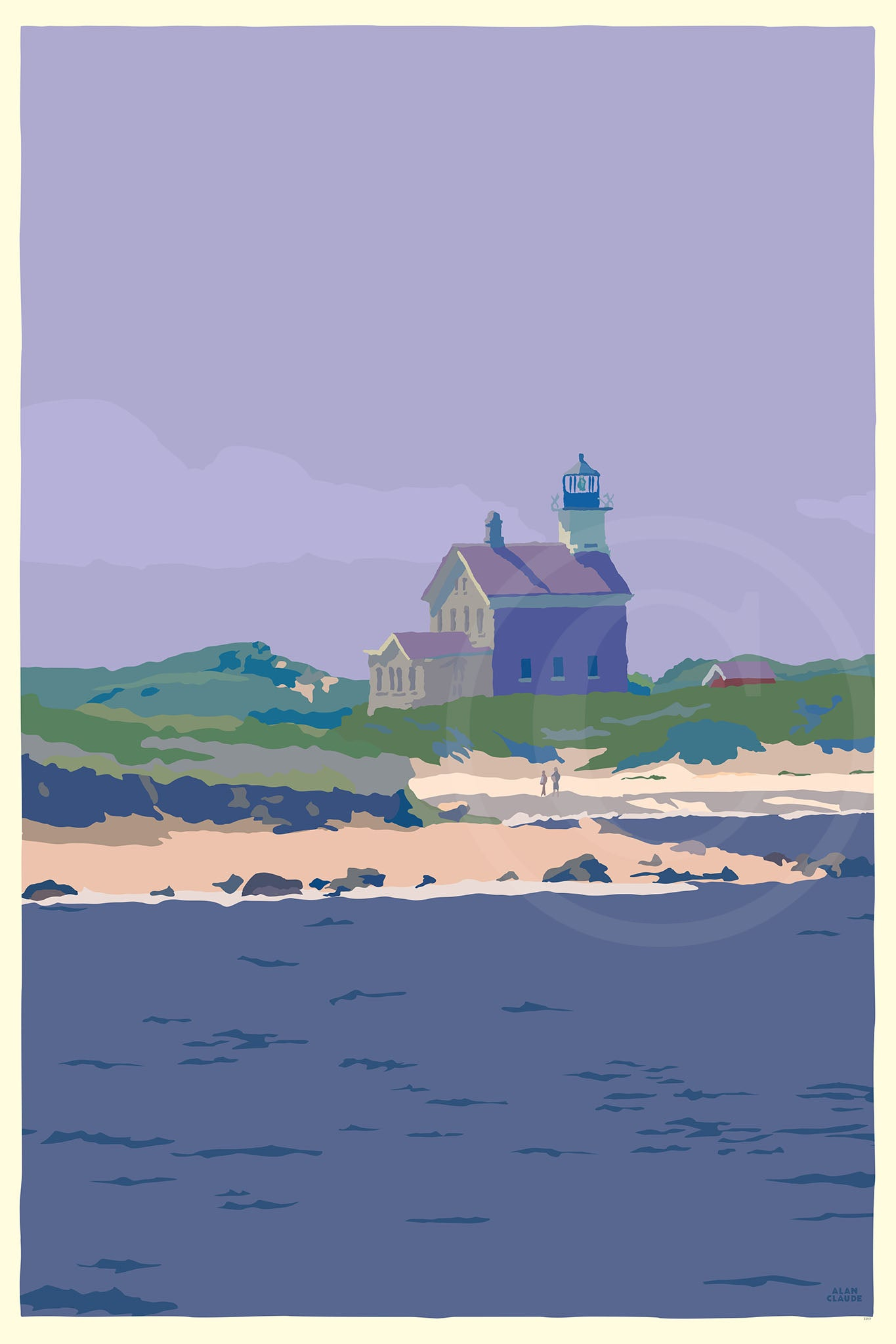 "Block Island North Light Art Print 24"" x 36"" Travel Poster - Rhode Island"