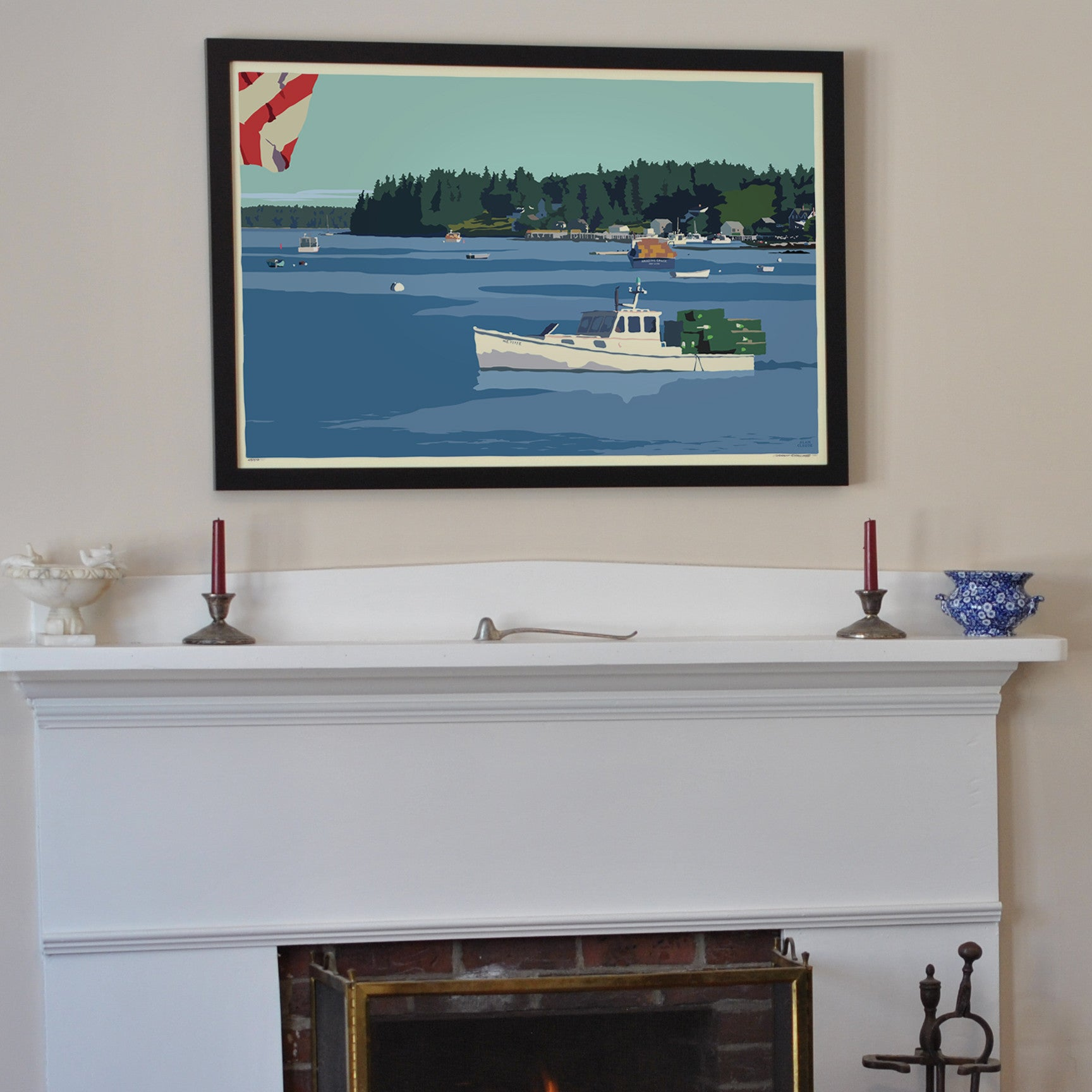"Port Clyde Lobster Boat Art Print 24"" x 36"" Framed Wall Poster - Maine"