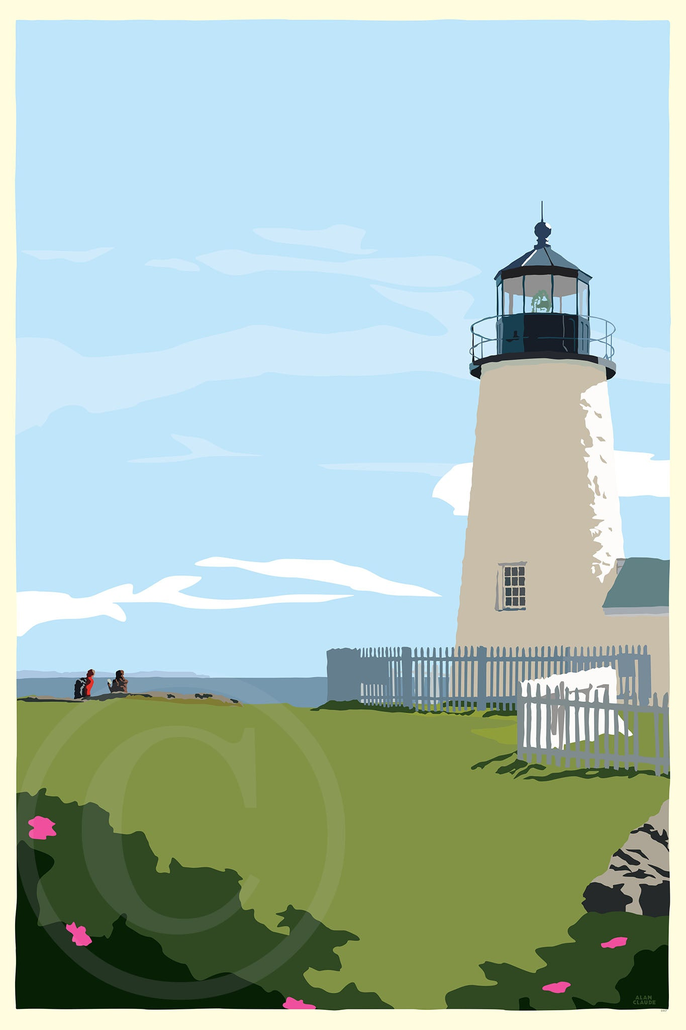 "Pemaquid Point Light Hikers Art Print 24"" x 36"" Wall Poster - Maine"