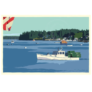 "Port Clyde Lobster Boat Art Print 36"" x 53"" Wall Poster - Maine"