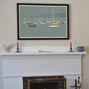 "Sailboats in Rockland Harbor Art Print 24"" x 36"" Framed Wall Poster - Maine"