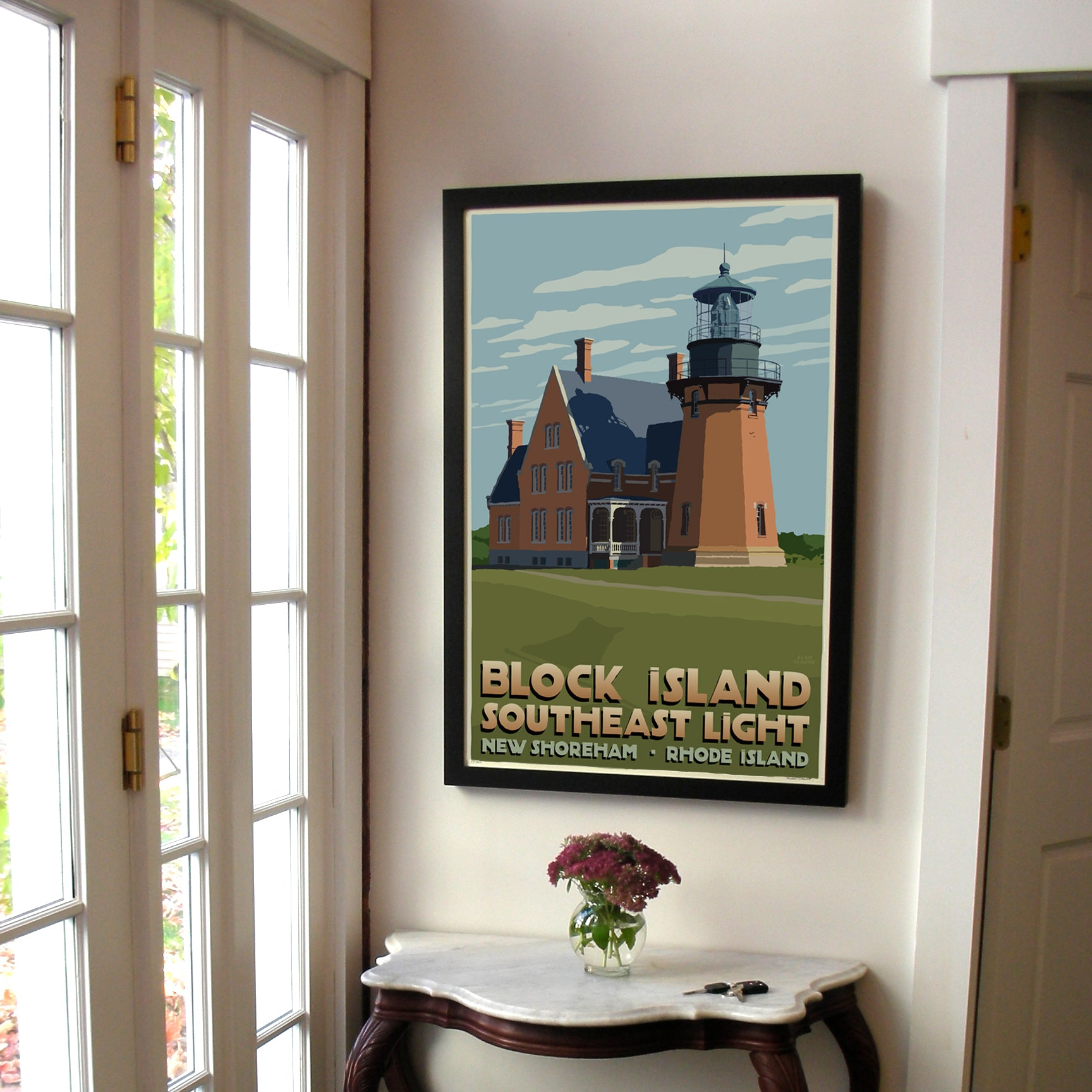 "Block Island Southeast Light Art Print 24"" x 36"" Framed Travel Poster - Rhode Island"