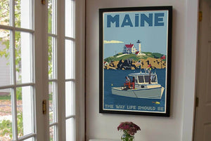 "Lobstering at the Nubble Maine 200 Bicentennial Edition Framed Art Print 24"" x 36"" Wall Poster - Maine"